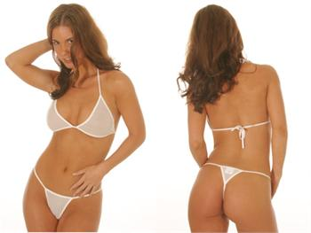 Sheer T-Top & Thong Bikini Set (White)
